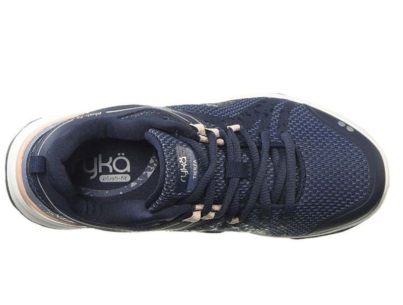 Ryka Mesh & Leather Lace-Up Walking Sneakers Tierza Navy - NEW