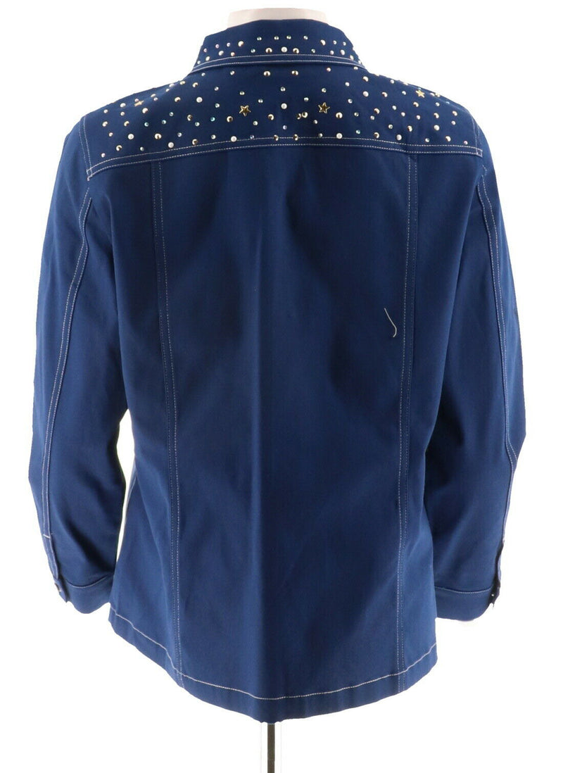 Quacker Factory Stars and Sparkle Woven Button Front Jacket Light Navy - NEW