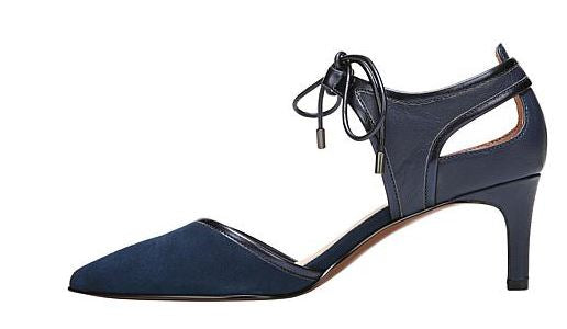Franco Sarto Darlis Pointed-Toe Leather Pump Blue - NEW
