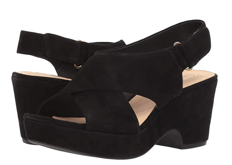 Clarks Artisan Leather Adjustable Wedge Sandals Maritsa Lara Black - NEW