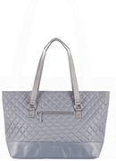 Lodis Quilted Nylon Laptop Tote Bag Silver - NEW
