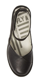 FLY London Colorblocked Ankle Strap Wedges Boke Black - NEW