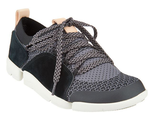 Clarks Trigenic Leather/Mesh Casual Lace-Up Sneakers Tri Amelia Black - NEW