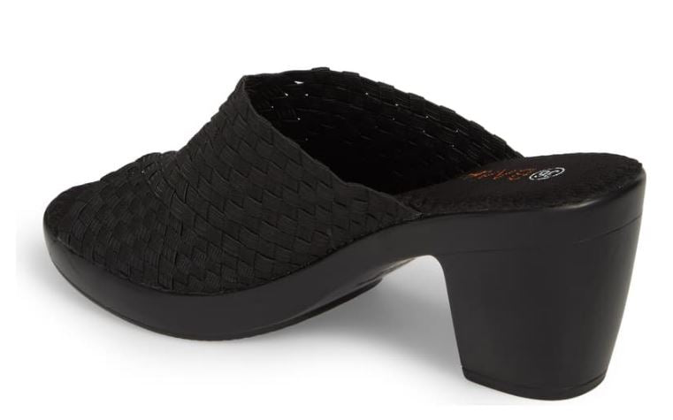 Bernie Mev Basket Weave Peep-Toe Mules Sun Texas Black - NEW
