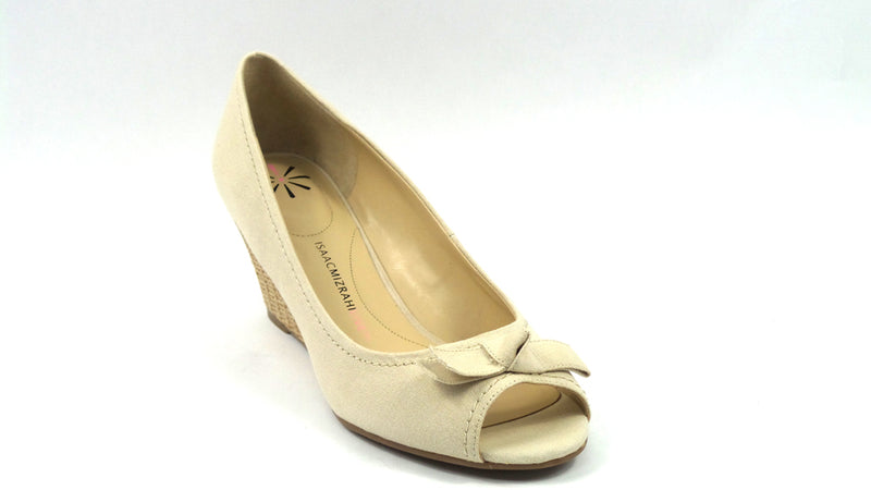 Isaac Mizrahi Peep Toe Canvas Wedges with Bow Detail Cream - NEW