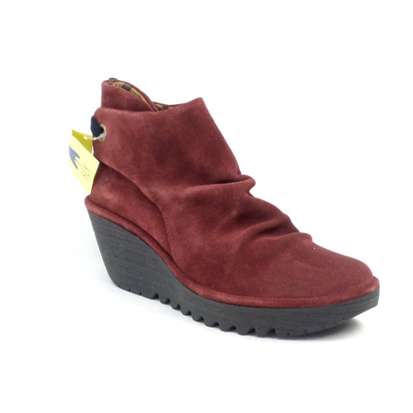 FLY London Suede Ruched Ankle Boots with Tie Detail Yebi Wine - NEW