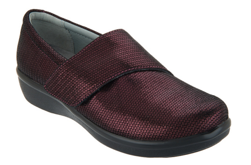 Alegria Printed Nubuck Slip-On Shoes with Cross Strap Lauryn Wine Weave - NEW
