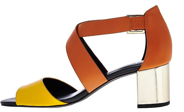 Isaac Mizrahi Live! Leather Sandals with Block Heel Gingersnap/Banana - NEW