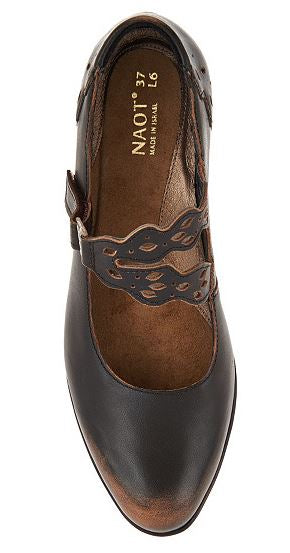 Naot Leather Mary Jane Pumps Amato Brown - NEW