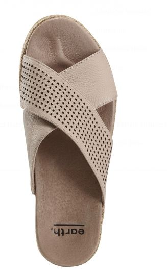 Earth Leather Perforated Cross Strap Slides Blush - NEW