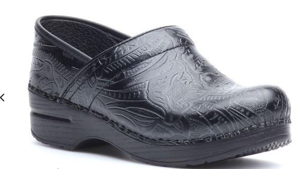 Dansko Professional Leather Clogs in Fashion Colors Black Toolet - NEW