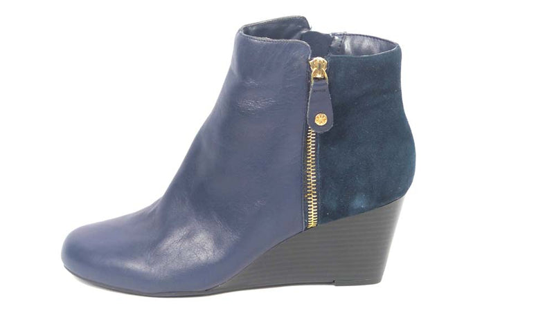 Isaac Mizrahi Live! Leather & Suede Wedge Ankle Boots Navy - NEW