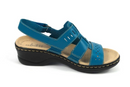 Clarks Collection Leather Cut Out Sandals Lexi Qwin Turquoise - NEW