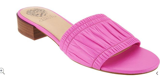 Vince Camuto Leather Single Band Slides Nanita Plasma Pink - NEW