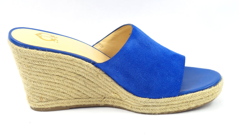 C. Wonder Suede Wedge Espadrilles with Fringe Freida Mykonos Blue - NEW