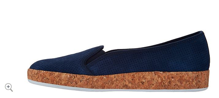 Isaac Mizrahi Live! Perforated Suede Slip-On Cork Sneakers Modern Navy - A