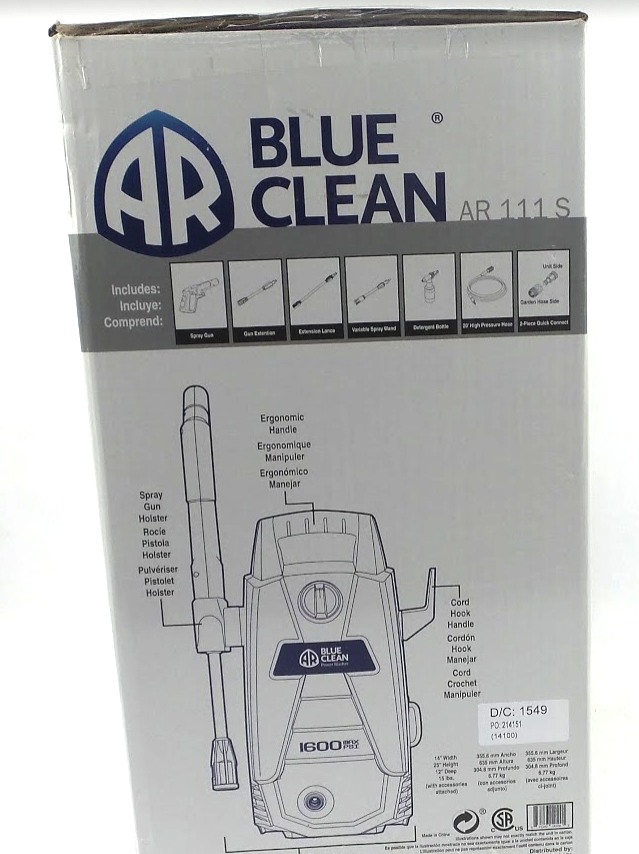 AR Blue Clean AR111S Blue Clean 1600 PSI Hand Carry Pressure Washer - NEW