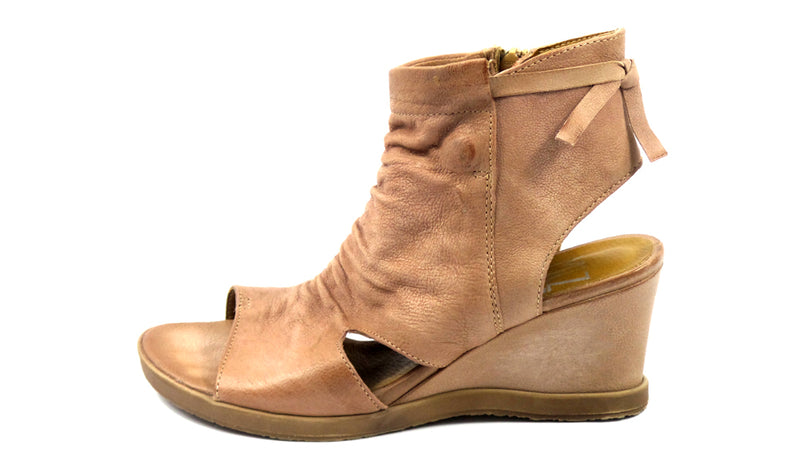 Miz Mooz Leather Open Toe Wedge Booties Becca Rose - NEW