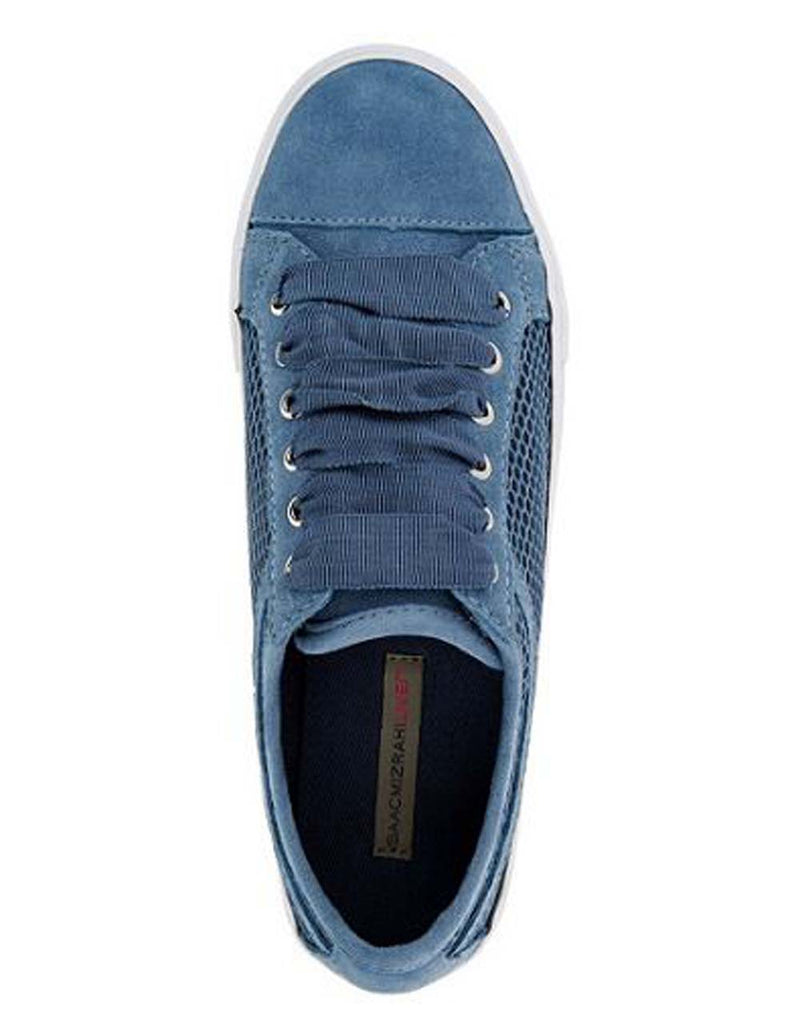 Isaac Mizrahi Live SOHO Suede Lace-up Sneakers with Mesh Detail Storm Blue - NEW