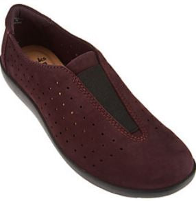 Clarks Collection Leather Slip-On Shoes Medora Gemma Burgundy - NEW