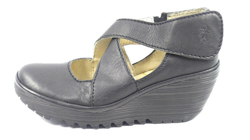 FLY London Leather Adj. Criss Cross Strap Wedges Yogo Black - A