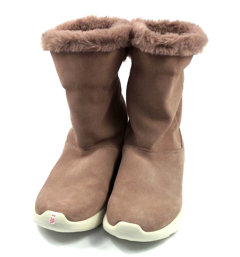 Skechers GOwalk Suede and Faux Fur Boots Stunning Mauve - A