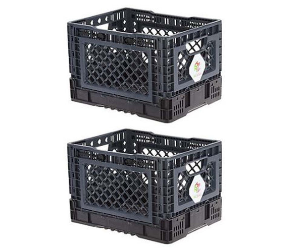 AmaziCrate Set of 2 Heavy Duty Collapsible Crates Grey - NEW