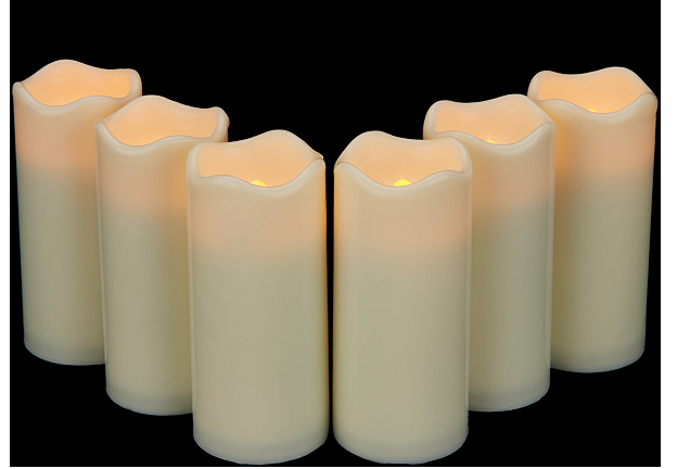 Pacific Accents Set of 6 Melted Top Flameless Votive Candles Ivory - NEW