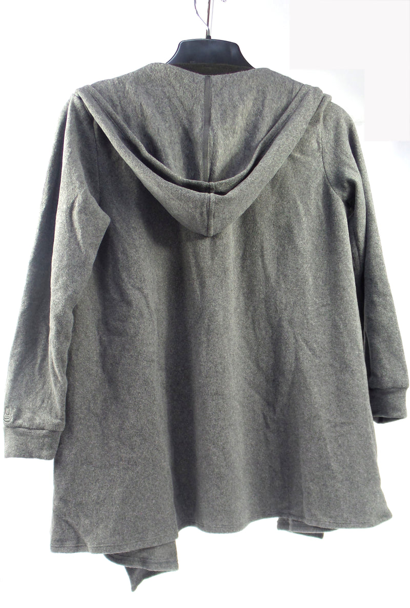 Cuddl Duds Fleecewear Stretch Long Sleeve Wrap with Hood Charcoal - A