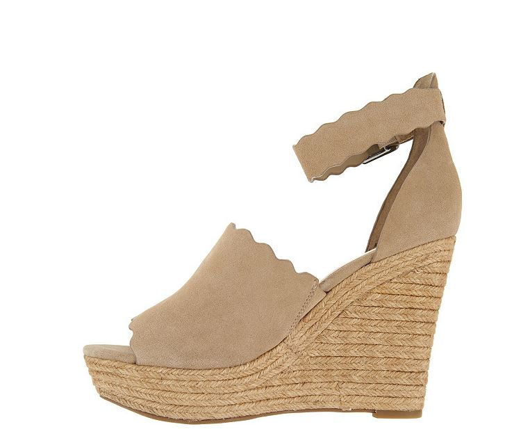 Marc Fisher Suede Ankle Strap Espadrille Wedge Haya Natural - NEW