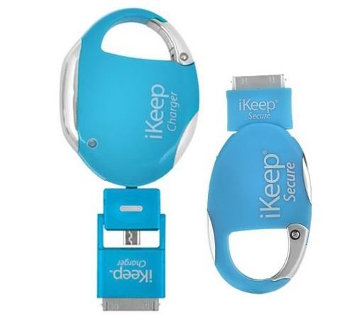 iKeep Smartphone USB Retractable Charger with Security Cord