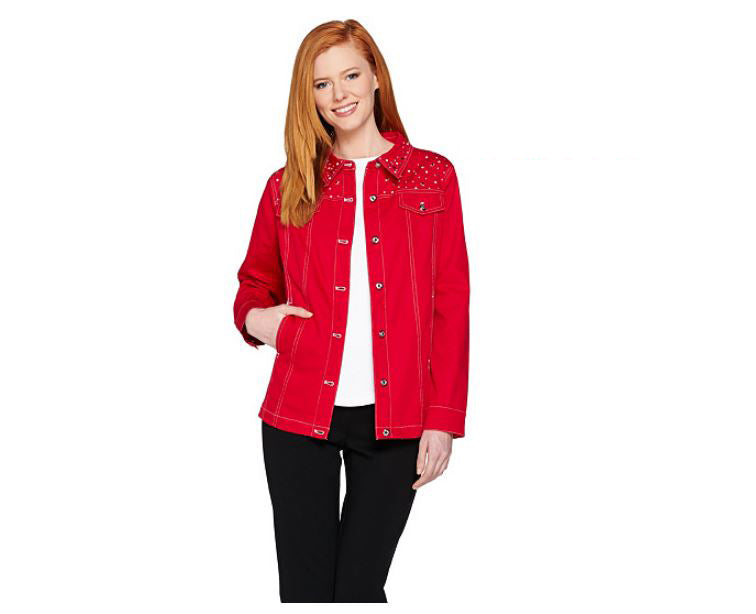 Quacker Factory Stars and Sparkle Woven Button Front Jacket Red - NEW