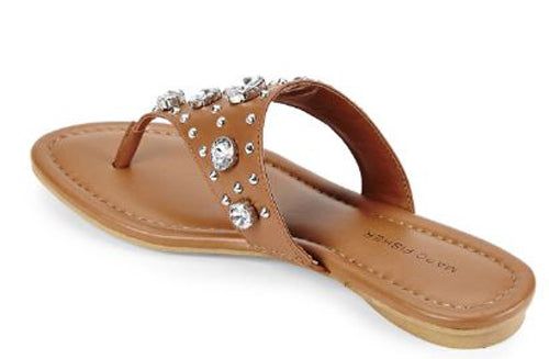 Marc Fisher Thong Sandals w/ Jewel Accents Gissel Tan - NEW