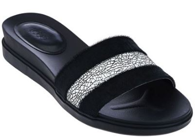LOGO by Lori Goldstein Leather Slip-On Footbed Black Pony - NEW