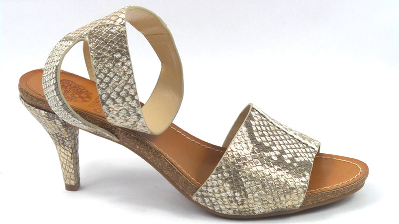 Vince Camuto Leahter Ankle Strap Heeled Sandals Odela Taupe Shine - NEW