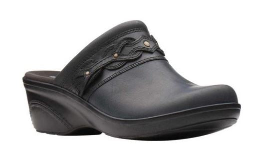 Clarks Leather Wedge Clogs with Braid Detail Marion Coreen Black - A