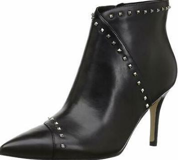 Marc Fisher Leather Studded Pointy Toe Booties Riva Black - A