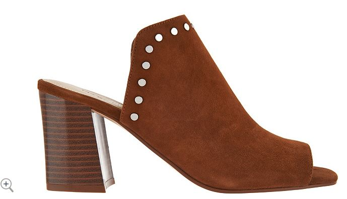 Marc Fisher Leather or Suede Studded Mules Dalilah Cognac - A