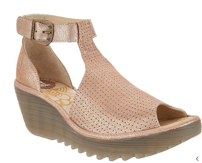FLY London Perforated Leather Ankle Strap Wedges Yehi Luna - NEW
