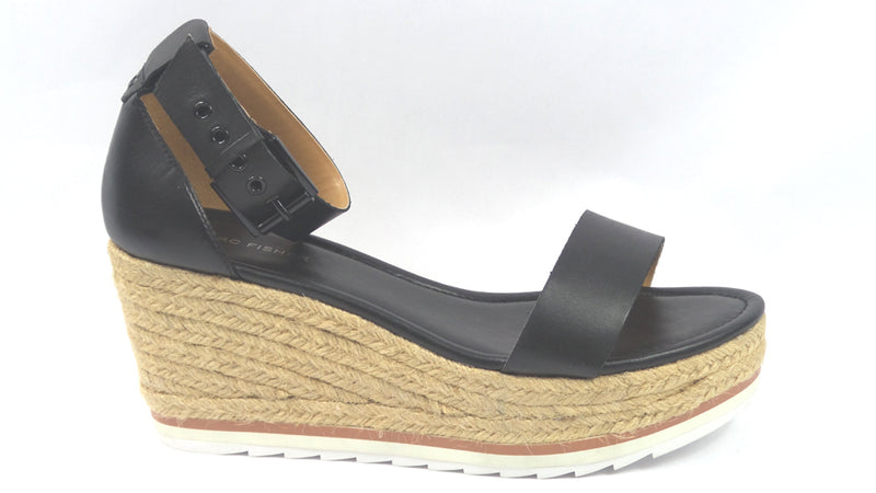 Marc Fisher Leather Espadrille Wedges Zako Black - NEW