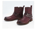 Frye Leather Stud Booties Veronica Plum - NEW