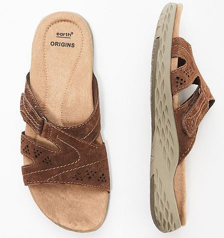 Earth Origins Suede Slide Sandals Westfield Waverly Bat - NEW