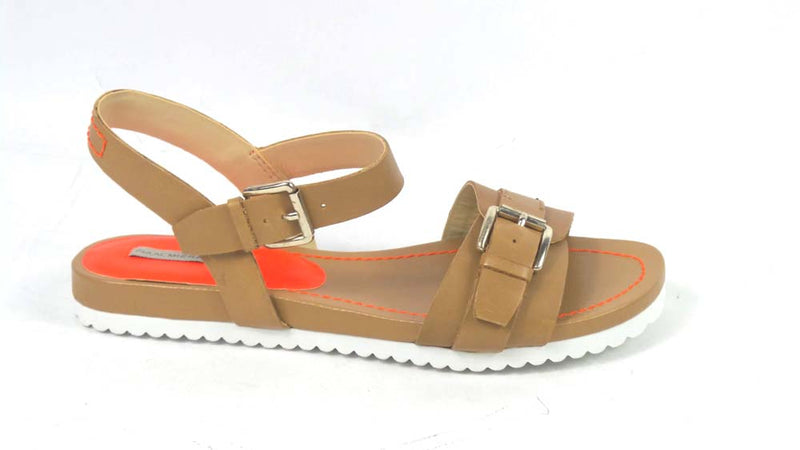 Isaac Mizrahi Women's SOHO Leather Sandals Neons Honey/NeonOrnge - NEW