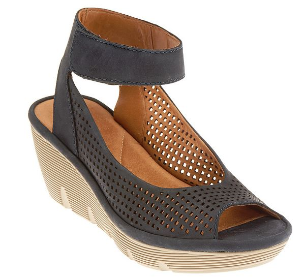 Clarks Artisan Nubuck Cut-out Wedges Clarene Prima Navy - NEW