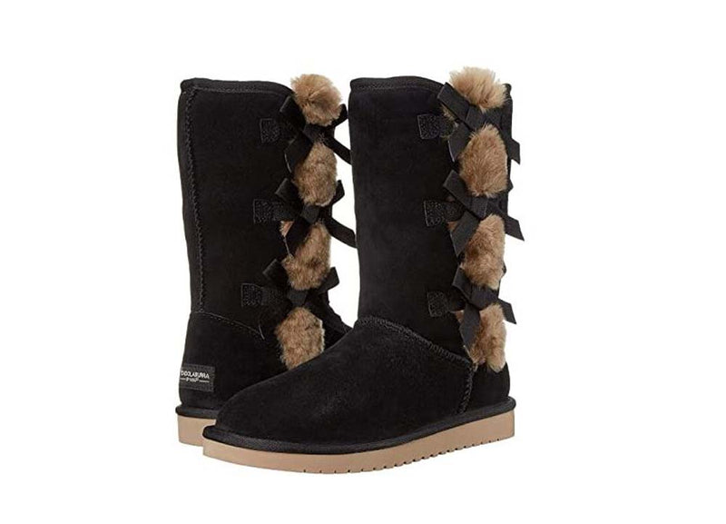 Koolaburra by UGG Suede Bow Tall Boots Victoria Black - NEW