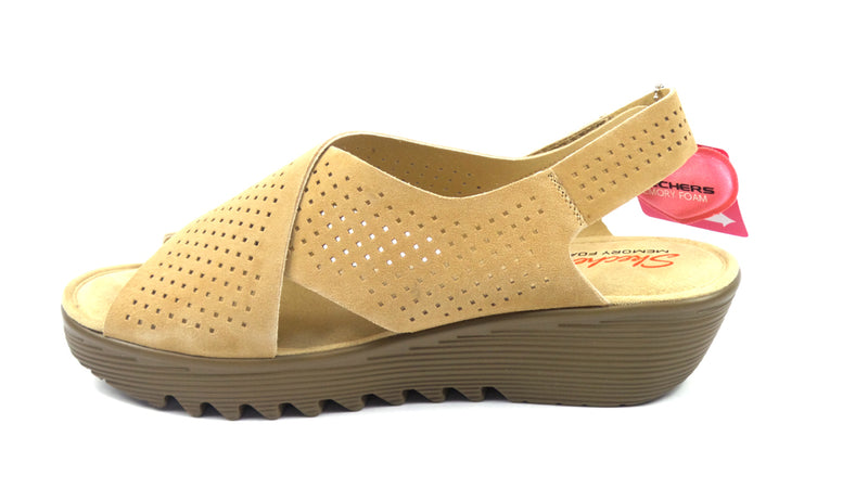 Skechers Perforated Suede Slingback Demi-Wedges Dark Natural - NEW