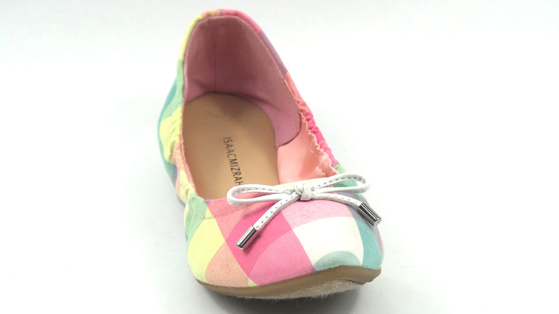 Isaac Mizrahi Plaid Ballet Flats with Bow Pink Multi - NEW
