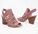 Vince Camuto Cutout Nubuck Heeled Sandals Deverly Rose Smoke - NEW