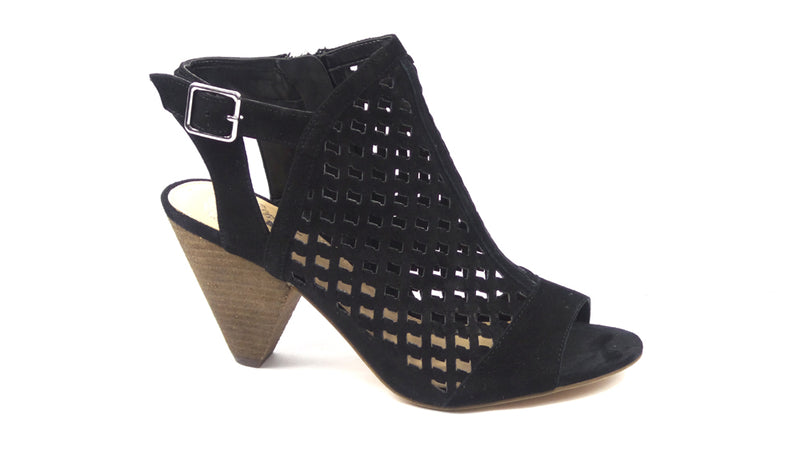 Vince Camuto Leather Perforated Heeled Sandals Emperla Black - NEW