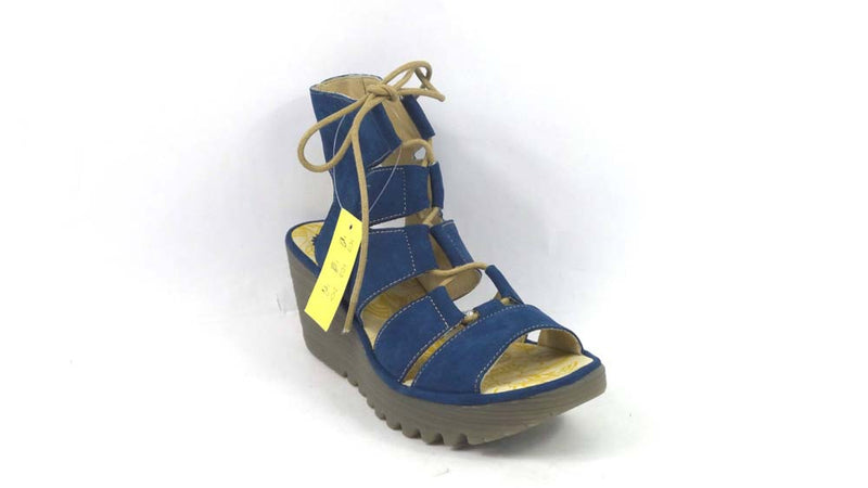 FLY London Leather Ghillie Lace Up Wedges Yoll Blue - NEW